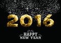 Happy new year gold low poly 2016 greeting card Royalty Free Stock Photo