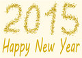 Happy new year in gold spangles the numbers of are written Stock Photos