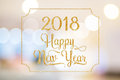 Happy New year 2018 gold sparkling glitter word with golden fram Royalty Free Stock Photo