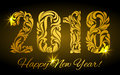 Happy New Year 2018. The golden figures from a floral ornament e