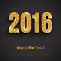 Happy New Year 2016 Golden Greeting Card Royalty Free Stock Photo