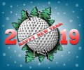 Happy new year 2019 and golf ball Royalty Free Stock Photo