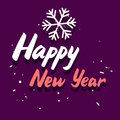 Happy new year graphic card vector congratulation with calligraphy hand drawing italic message and snowflake on purple background Stock Images