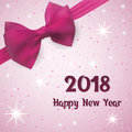 Happy New Year Greeting card 2018. Background with snow and stars decorated a pink bow with a tape.