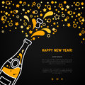 Happy New Year greeting card with champagne explosion bottle Royalty Free Stock Photo