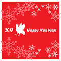 2017 Happy New Year greeting card. Chinese New Year of the red Rooster.