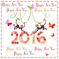 Happy New Year greeting card with cute monkeys Royalty Free Stock Photo