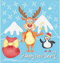 Happy new year greeting card with deer and penguin cute cartoon characters snowflakes presents bag winter holidays hand Stock Photos