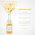 Happy new year 2016 greeting card with flat Royalty Free Stock Photo