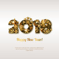 Happy New Year 2018  greeting card with golden numbers. Abstract holiday glowing background. Royalty Free Stock Photo