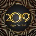 Happy New Year 2019 Greeting Card - Dark Numbers in Golden Brush