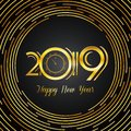Happy New Year 2019 Greeting Card - Golden Numbers in White Bold
