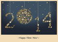 Happy new year greeting card from golden snowflakes vector Royalty Free Stock Photos
