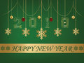 Happy New Year greeting card 2018 Green backgroun