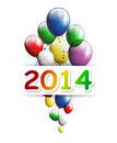 Happy new year greeting card with party balloons illustration of Stock Image