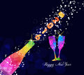Happy new year 2016 greeting card or poster design with colorful triangle champagne explosion Royalty Free Stock Photo