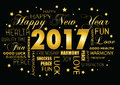 Happy New year 2017 greeting card - tagcloud Royalty Free Stock Photo