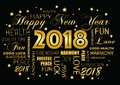 Happy New year 2018 greeting card - tagcloud Royalty Free Stock Photo