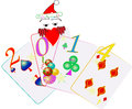 Happy new year greeting playing cards Stock Photo