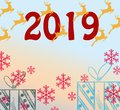 2019 Happy New Year greetings. Holidays colored background, bubbles shape pattern. Funny isolated digits, 2019 background with Chr Royalty Free Stock Photo