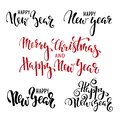 Happy New Year. Hand drawn creative calligraphy, brush pen lettering. design holiday greeting cards and invitations of Merry