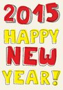 Happy New Year 2015 vector hand drawn wishes