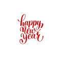 Happy New Year hand lettering congratulate red inscription