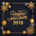 Happy New Year 2018 hand written lettering with golden decoration ornament. Royalty Free Stock Photo