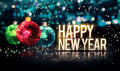 Happy New Year Hanging Baubles Blue Bokeh Beautiful 3D Royalty Free Stock Photo