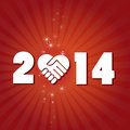Happy new year have a text on a red fantasy background with shaking hands icon Royalty Free Stock Photography