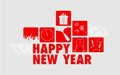 Happy new year illustration of collage background Royalty Free Stock Photos