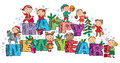 Happy New Year kids on the letters Royalty Free Stock Photo
