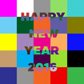 Happy New Year 2016 lettering Greeting Card. Block colorful. Royalty Free Stock Photo