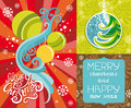 Happy new year lettering greeting card with christ vector set snowflakes christmas tree and christmas balls Royalty Free Stock Photos