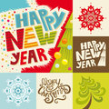 Happy new year lettering greeting card vector set with snowflakes and christmas tree Stock Image
