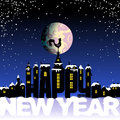 Happy New Year lettering. Letters like the silhouette of the ancient city. Weather vane rooster symbol in the night sky Royalty Free Stock Photo