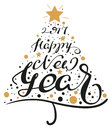 2017 Happy New Year. Lettering text christmas tree shape