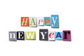Happy new year letters cut from magazines spelling isolated on white with path Royalty Free Stock Image