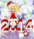 Happy new year and little santa girl vector illustration Royalty Free Stock Photo