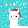 Happy New Year. Llama alpaca baby face. Santa hat. Merry Christmas. Snow flake falling. Cute cartoon funny kawaii character. T- Royalty Free Stock Photo