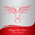 Happy new year and merry christmas greeting cards with red deer vector illustration Royalty Free Stock Images