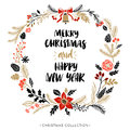 Happy New Year and Merry Christmas. Greeting wreath with calligraphy.