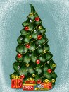 Happy New Year and Merry Christmas! Large decorated Christmas tree with many gifts on a snowy background. Drawings for greeting Royalty Free Stock Photo