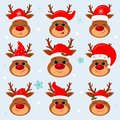 Happy New Year and Merry Christmas. Set of nine cute reindeer in Santa s hat on a winter background. Cartoon, flat style