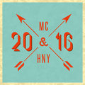 Happy New Year 2016 Merry Christmas vintage hipster greeting card, mockup old style poster, retro invitation Royalty Free Stock Photo