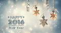 Happy New Year 2016 message with hanging stars Royalty Free Stock Photo