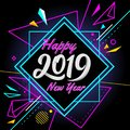 Happy new year 2019 with modern banner colorful background