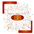Happy new year with multi color design celebration