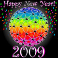 Happy New Year - New Years Glowing Sphere Stock Photo