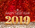 Happy new year 2019 year number 3d rendering at sparkling go Royalty Free Stock Photo